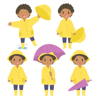 Happy african american boy in yellow raincoat and purple umbrella vector set