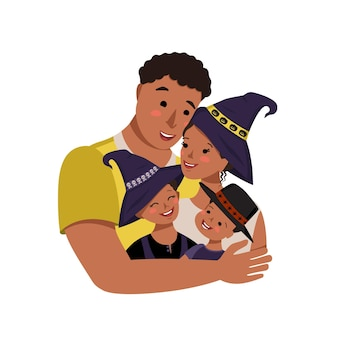Happy african american family in halloween costumes dad mom daughter and son in witch hats with skul...