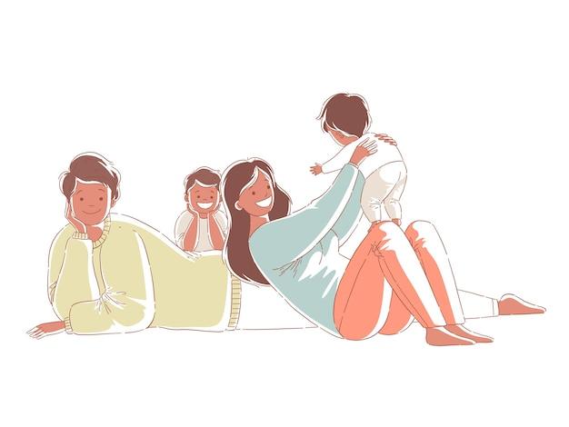 Счастливая афроамериканская семья проводит время с детьми