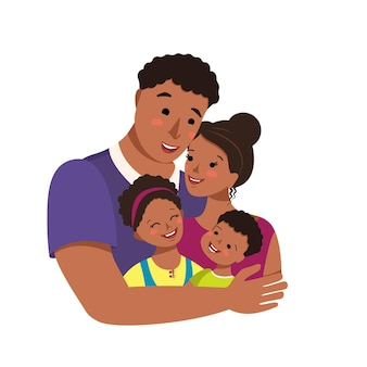 행복한 아프리카 계 미국인 가족이 함께 국제 가족의 날 아바타 아빠가 엄마와 아이들을 껴안습니다.