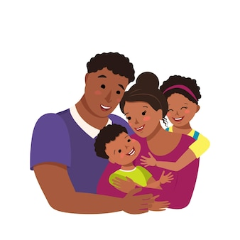 Happy african american family together.