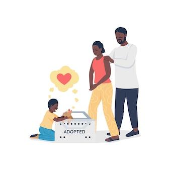 입양된 개 플랫 컬러 벡터 상세한 캐릭터를 가진 행복한 아프리카계 미국인 가족. 아들과 강아지가 있는 부모. 웹 그래픽 디자인 및 애니메이션에 대한 애완 동물 관리 격리 된 만화 그림