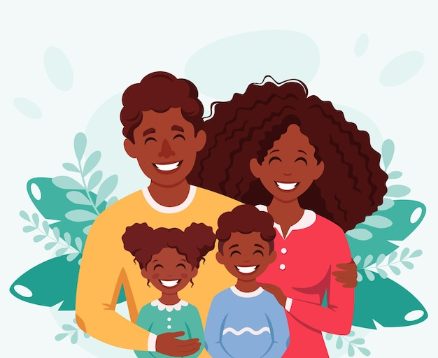 Happy african american family with son and daughter parents hugging children