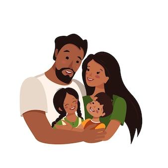 幸せなアフリカ系アメリカ人またはラテン系の家族
