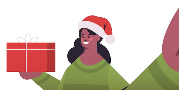 Happy african american woman in santa hat with gifts holding camera and taking selfie new year christmas holidays celebration concept horizontal portrait vector illustration