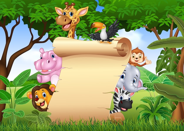 Happy african animals with blank sign