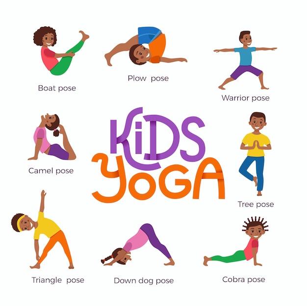 Счастливые африканские дети в разных позах йоги