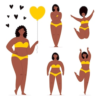 A happy african plump women in swimsuit holding a heartshaped balloondancingjumpinghugs herself
