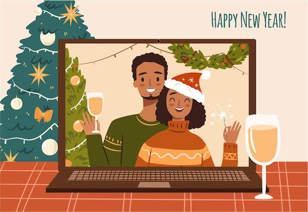 Счастливая афроамериканская пара в уродливых свитерах празднует рождество удаленно