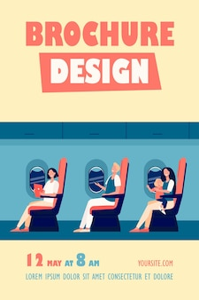 Happy airplane passengers sitting on their seats, using gadgets, holding kid on lap, drinking from cane flyer template
