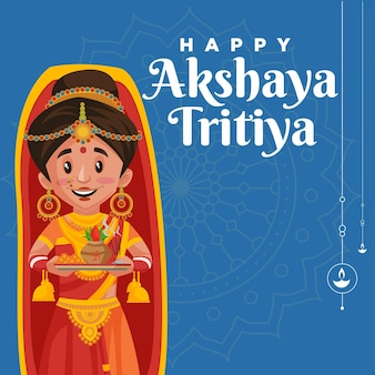 Happy akshaya tritiya banner design template on blue background
