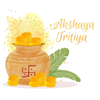 Happy akshaya tritiya coins and leaves