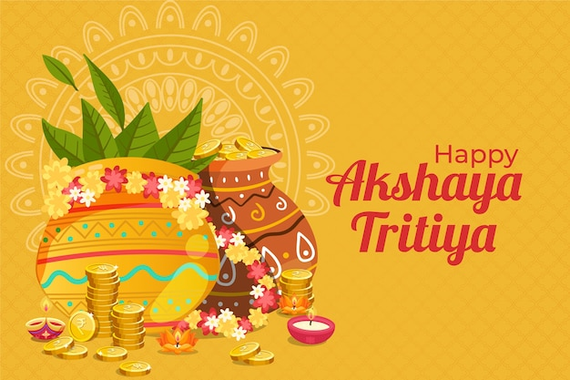 Happy akshaya tritiya decorative pots and coins