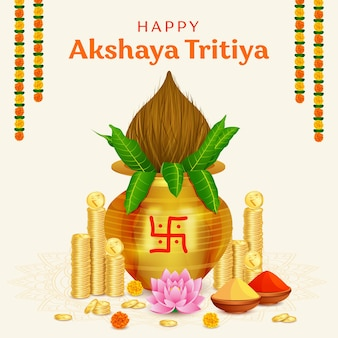 Happy akshaya tritiya festival gold coin in kalash background