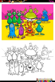 Happy aliens characters group color book