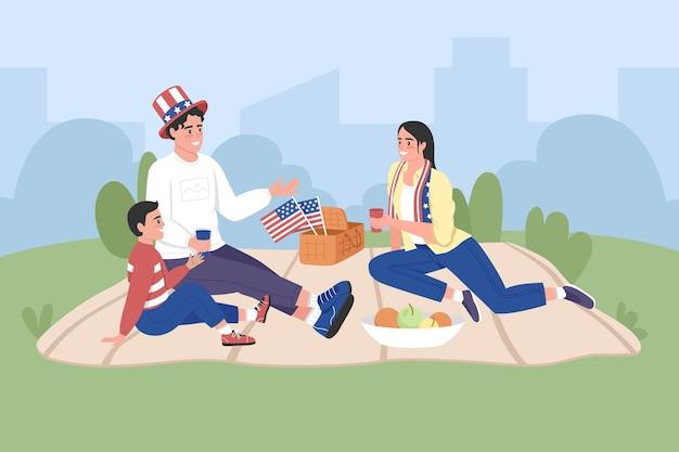 幸せなアメリカの家族は独立記念日フラットカラーベクトルイラストを祝います。アメリカで7月4日のピクニック。背景に都市公園と息子の2d漫画のキャラクターと笑顔の両親