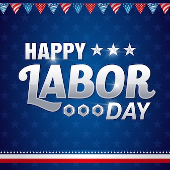 Happy american labor day greeting card design