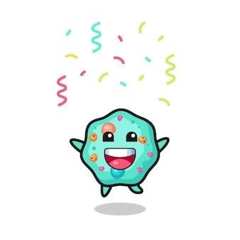 컬러 색종이 조각, 티셔츠, 스티커, 로고 요소를 위한 귀여운 스타일 디자인으로 축하하기 위해 점프하는 행복한 아메바 마스코트