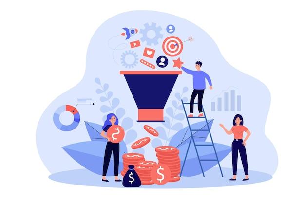 ソーシャルメディアのフラットなイラストを介して市場を分析する幸せなアナリスト。マーケティングサイクルと広告システムで動作する漫画のキャラクター。販売戦略、seo、マーケティングファネルのコンセプト