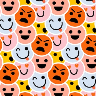 행복하고 화난 이모티콘 패턴 템플릿 무료 벡터