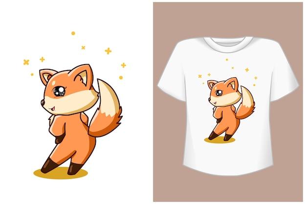 Счастливый и крутой шаблон футболки с лисой