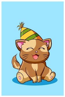 誕生日の帽子、動物の漫画イラストを身に着けている幸せでかわいい猫 Premiumベクター