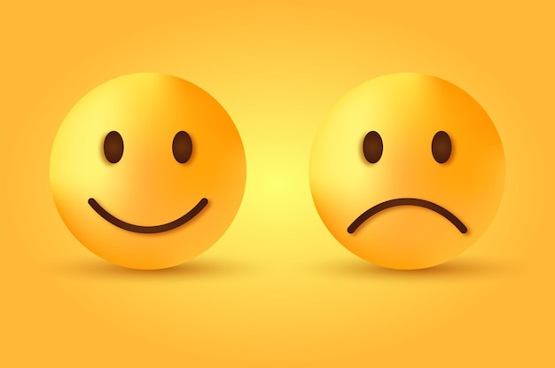 행복하고 슬픈 이모티콘-웃거나 슬픔의 얼굴-피드백 이모티콘