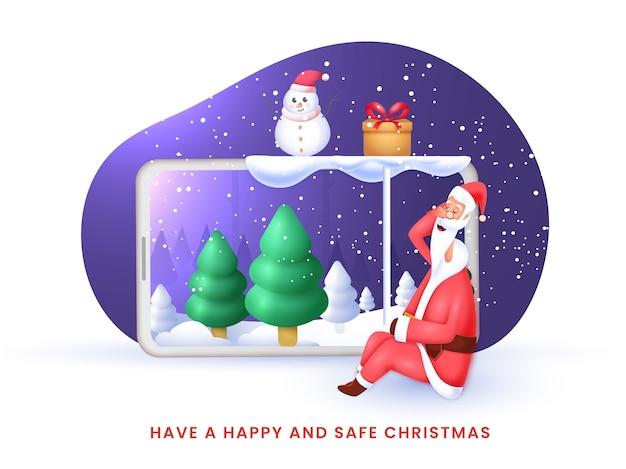Счастливый и безопасный рождественский дизайн плаката с сидящим мультяшным санта-клаусом