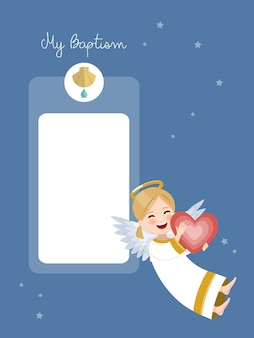 Happy angel with red heart. baptism invitation with message on blue sky and stars. flat vector illustration