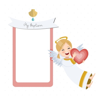 Happy angel with red heart. baptism invitation with message. flat vector illustration