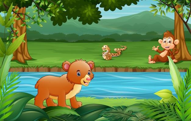 川辺で楽しむ幸せな動物