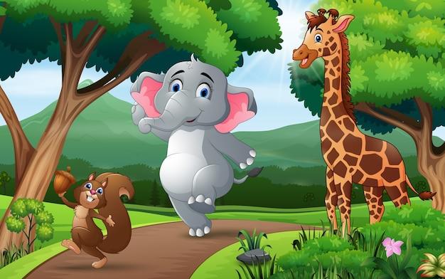 森を歩く幸せな動物