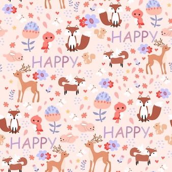 Печать happy animal розовый