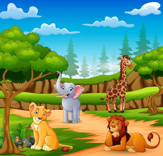 자연 장면에 행복 동물 만화