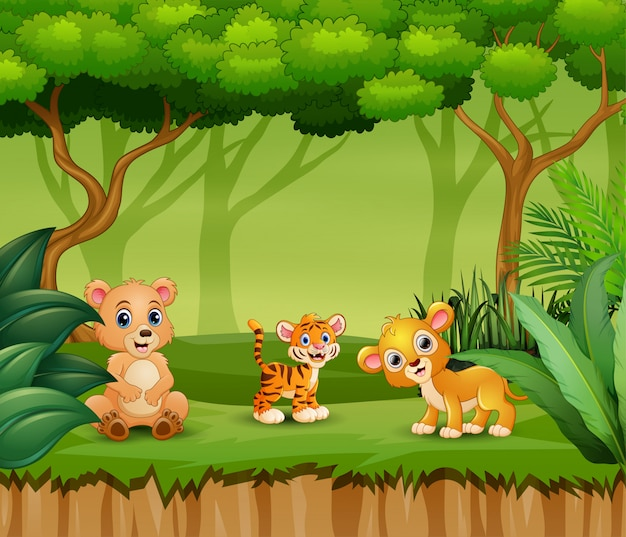Happy animals enjoying in the nature