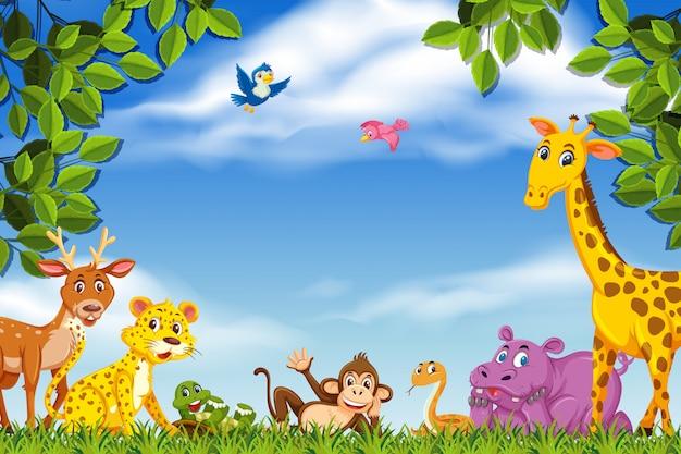 Happy animals in nature scene