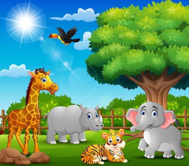 Happy animals on nature scene