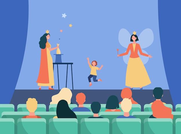 아이들을위한 무대에서 공연하는 행복한 애니메이터. 마술, 요정, 의상 평면 그림. 만화 그림