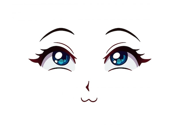 Happy anime face. manga style big blue eyes, little nose and kawaii mouth. hand drawn  illustration.