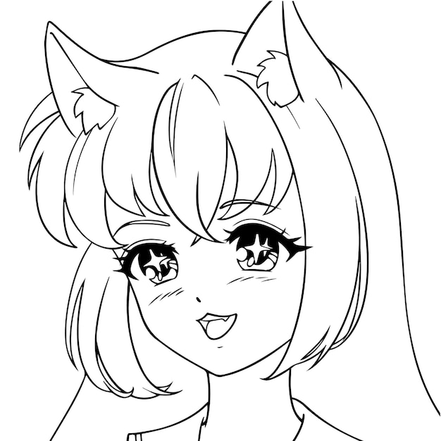 Счастливая девушка аниме неко с милыми кошачьими ушками.