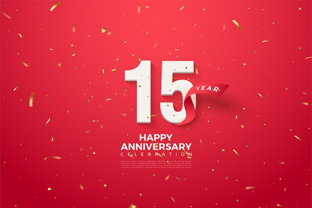 Happy anniversary 15th background with curved red numbers and ribbon.