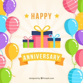 Happy anniversary background with balloons and gifts box