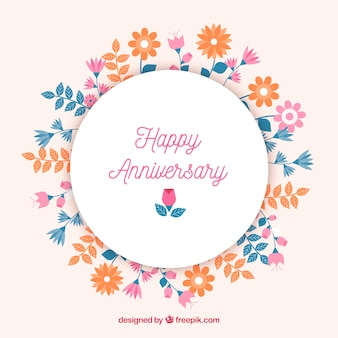 Happy anniversary background with floral frame