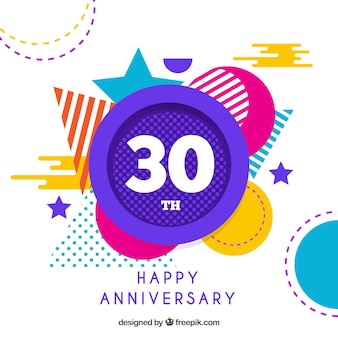 Happy anniversary background with geometric shapes