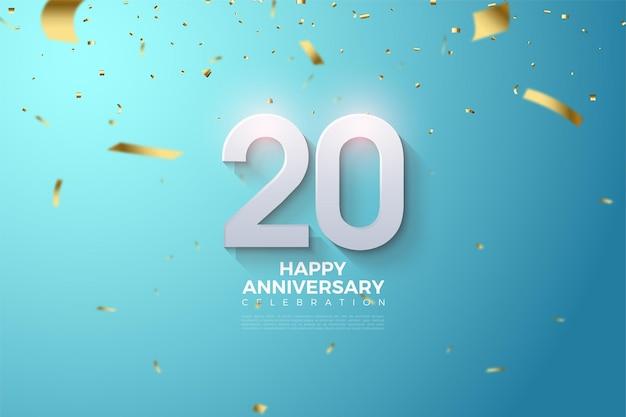 숫자와 금 종이 떨어지는 기념일 축하 배경