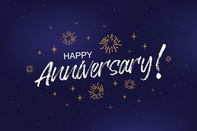 Happy anniversary card banner anniversary greeting scratched calligraphy text words gold stars