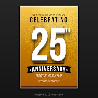 Happy anniversary card in golden style