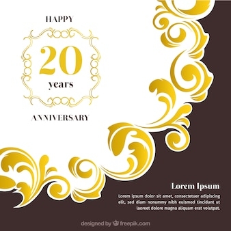 Happy anniversary card with ornaments in golden style