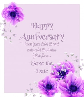 Happy anniversary card with pink flowers watercolor
