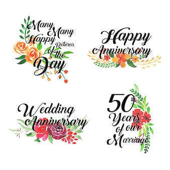 Happy anniversary floral logo collection